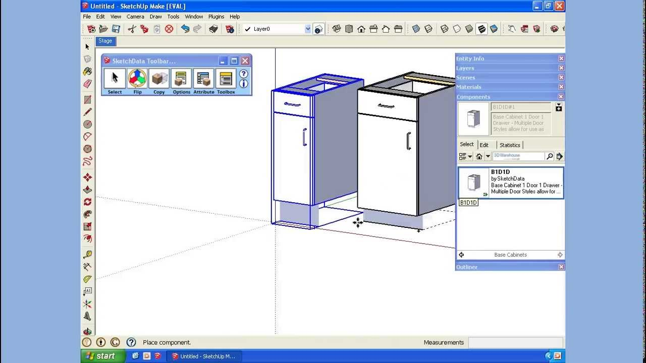 Sketchup Creating A Cabinet Component Library Youtube