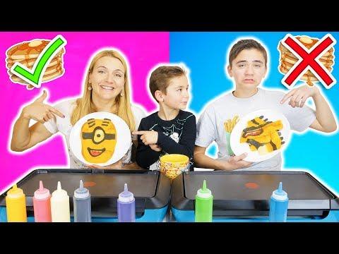PANCAKE ART CHALLENGE 5 !!! - Mre VS Fils : Minions, Mario, Creeper...