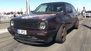 1300HP VW Golf 2 R33 Turbo - 332 KM/H Topspeed @ 1/2 Mile Acceleration!!