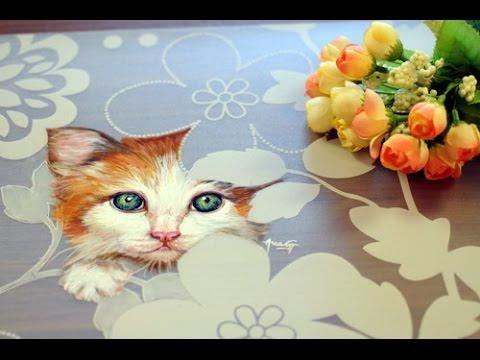 Como Pintar Un Gato Individual Para Mesa Esmaltes Acrilicos Ana Gjurinovich