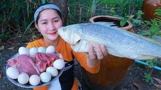 Tasty Fermented Boeseman Croaker Cooking Duck Egg - Cooking With Sros