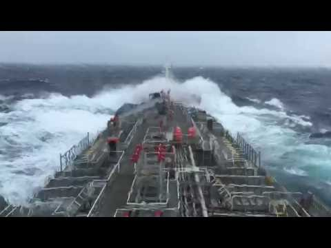 Tanker ship heavy pitching and rolling in rough weather