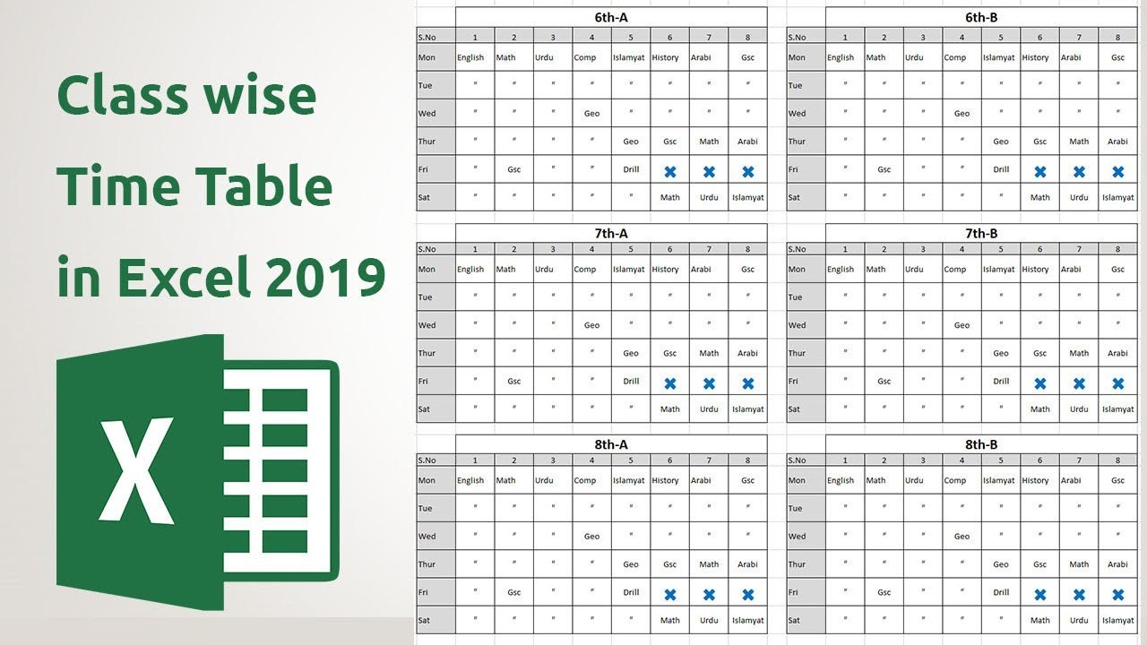 How to create Class wise Time table in ms Excel 2019 - YouTube