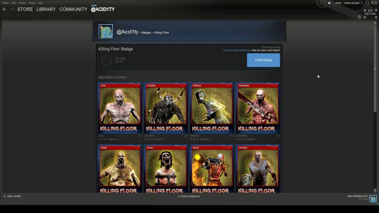Steam trading cards killing floor level 1 badge crafting for Floor 2 swordburst 2