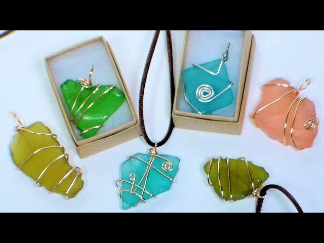 Quick and easy wire wrapped sea glass jewelry the frugal crafter blog aloadofball Images