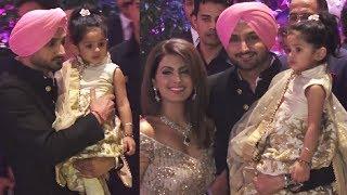Harbhajan Singh Carrying His Daughter Hinaya With Wife Geeta Basra At Akash Ambani Engagement Party
