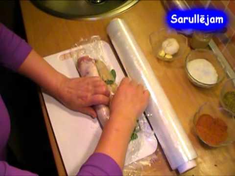 Gaļas rulete ar spinātiem un kūpinātu speķi - Meat roll with spinach and smoked speck
