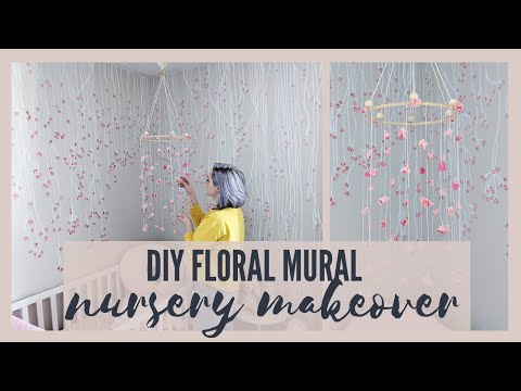 NURSERY TRANSFORMATION! FLOWER MURAL + DIY MOBILE | The Diaries Of DIY Danie