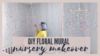 Nursery Transformation! Flower Mural + DIY Mobile| The Diaries of DIY Danie