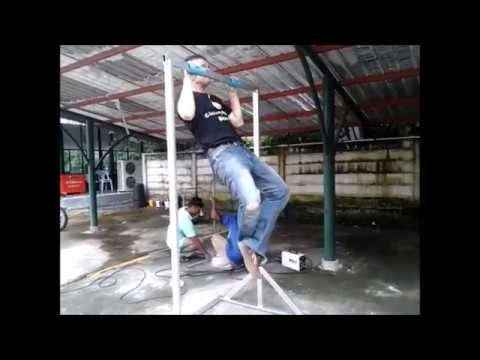 Making a pull up bar from scrap metal.