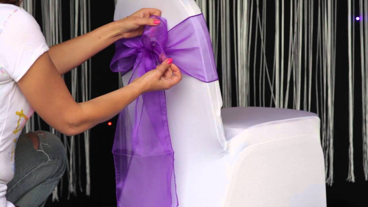 how to various ways to tie an organza sash to a chair cover youtube