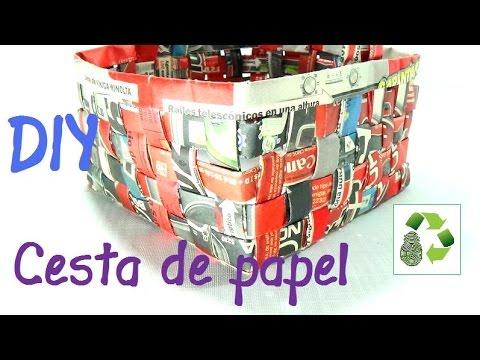 8 manualidades como hacer cesta con papel peri dico reciclaje ecobrisa youtube - Hacer cestas con papel de periodico ...