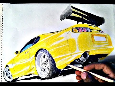 how to draw car toyota supra   youtube