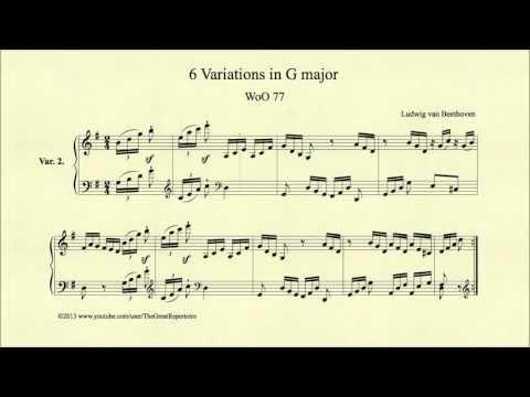 Beethoven, 6 Variations in G major, WoO 77, Var 2