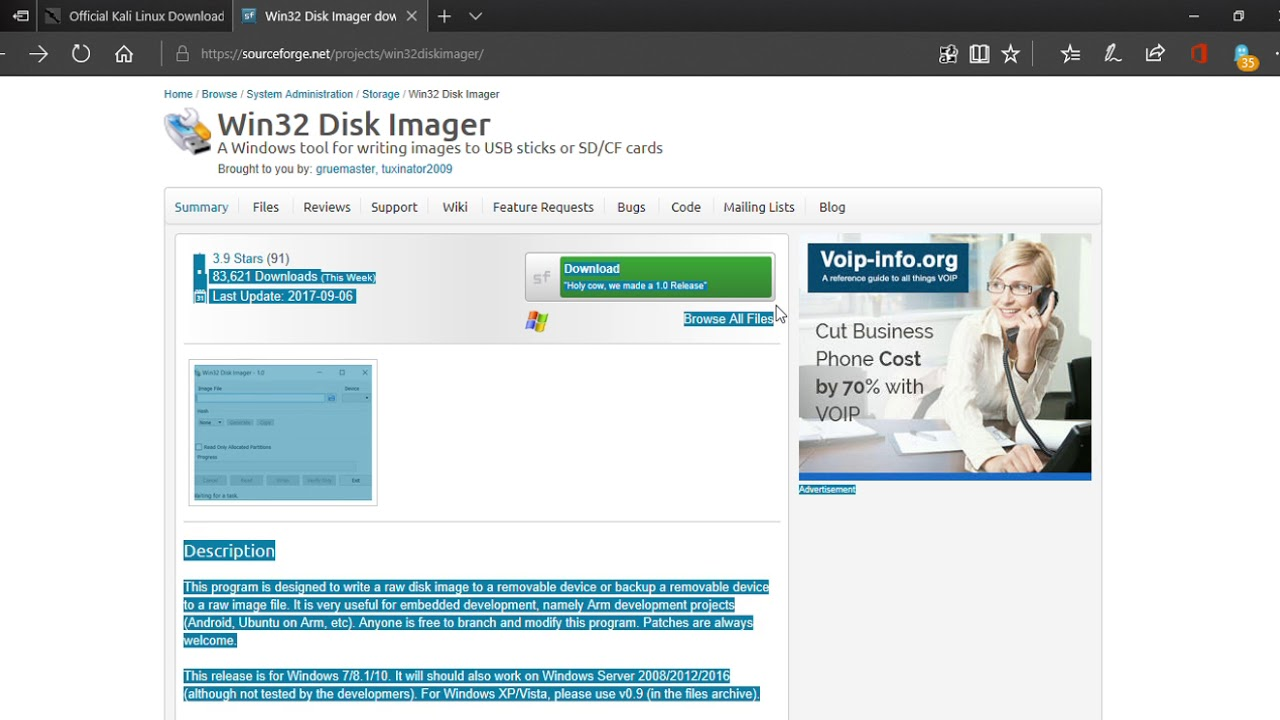 Download Links For Win32 Disk Imager and Kali Linux Part 2