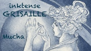 Inktense Grisaille Value Painting, Mucha Study Demo