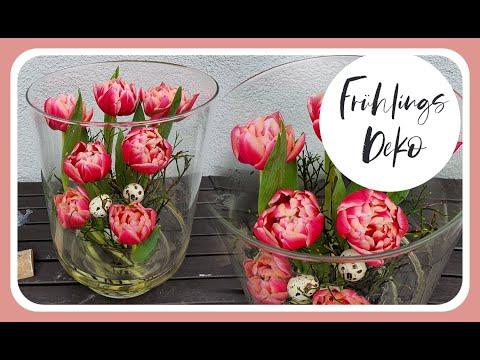 DIY Einfache FRÜHLINGSDEKO im Glas mit gefüllten Tulpen I Deko Idee Frühling 2020 I KatisweltTV