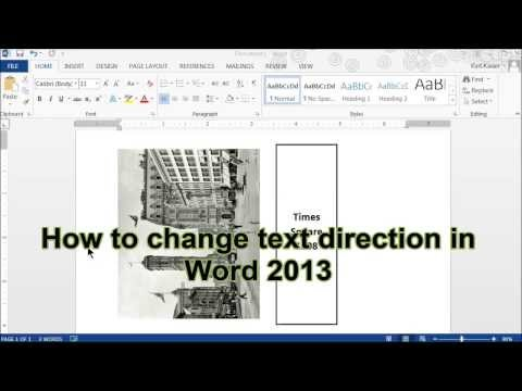 How To Change Text Direction In Word 2013