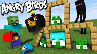 Monster School : ANGRY BIRDS Challenge - Minecraft Animation
