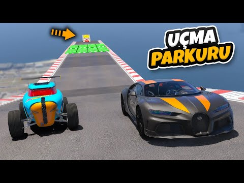 Bugatti vs Hot Wheels Arabalar Uçma Parkurunda Yarışıyorlar - GTA 5
