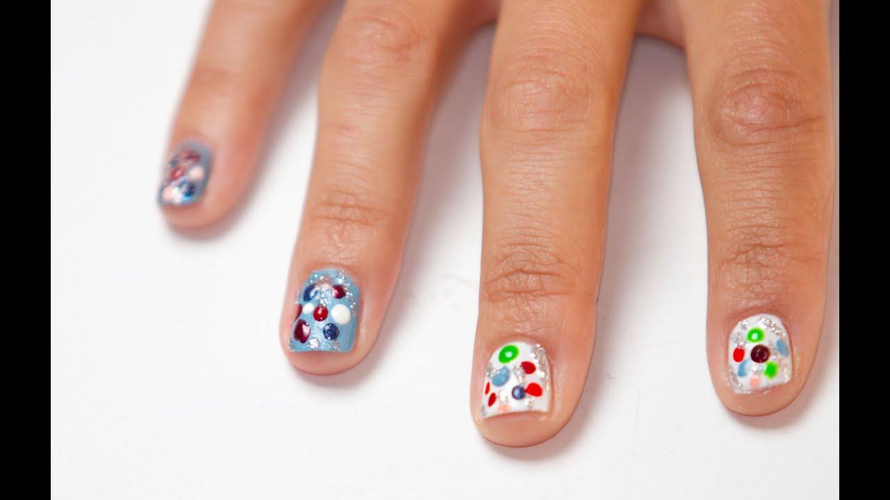 Como pintar las u as para dia y noche en 3d y puntitos - Como pintarse las unas bien ...