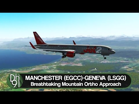 X-Plane 11 Full Flight l Breathtaking Mountain Terrain Approach l EGCC ✈ LSGG l Flight Factor 757v2