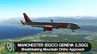 X-Plane 11 Full Flight l Breathtaking Mountain Terrain Approach l EGCC ✈ LSGG l Flight Factor 757v2