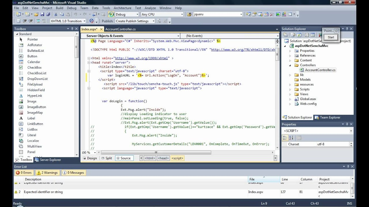 tutorial interaction between sencha touch and asp net mvc using visual studio 2010 youtube. Black Bedroom Furniture Sets. Home Design Ideas