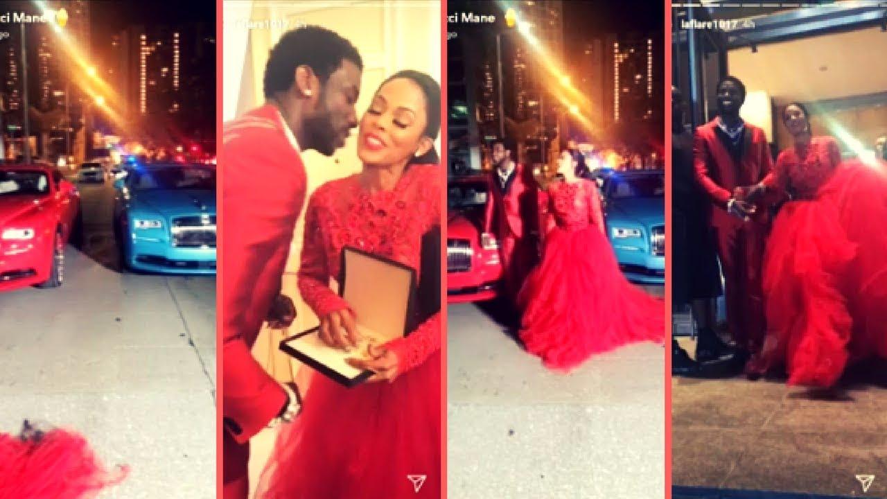 Gucci Mane Surprises His Wife Keyshia Ka'oir With A 2017 Blue Rolls Royce  Wraith Mr  Davis Shows Out