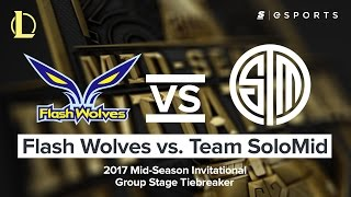 HIGHLIGHTS: Flash Wolves vs. Team SoloMid (2017 MSI Group Stage Tiebreaker Match)