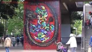 Japan Trip 2013 Tokyo Street Painting Mural art! Yoyogi Park holiday in Shibuya 597