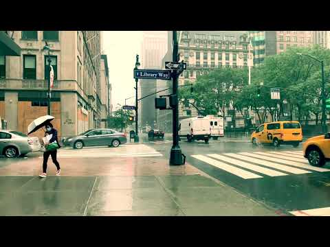 ⁴ᴷ⁶⁰ Walking in Heavy Rain and Strong Winds in New York City