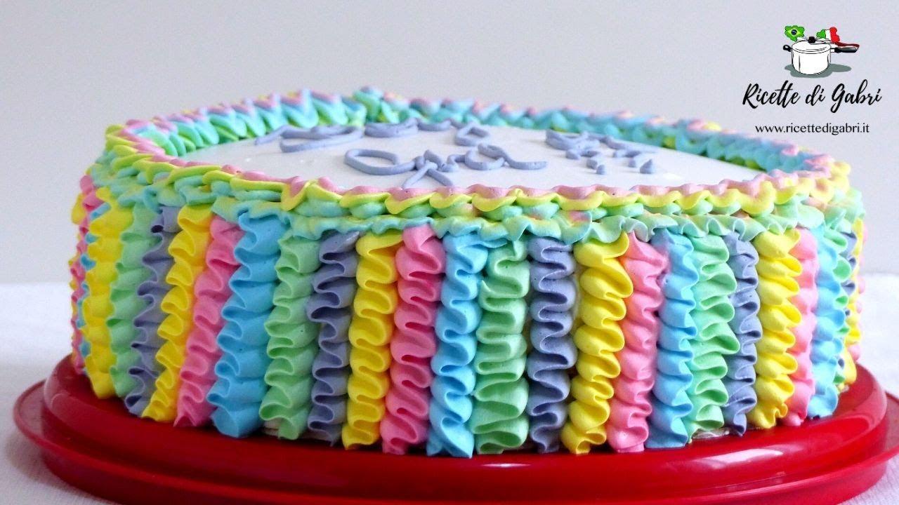 Come Decorare Una Torta Con La Panna Ruffles Cake Arcobaleno Baby Shower Cake Ricette Di Gabri Youtube