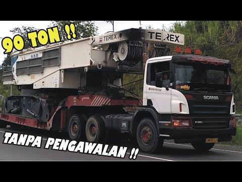 DETIK DETIK TRUCK TRAILER SCANIA P380 MUATAN CRANE 90 TON TANPA PENGAWALAN