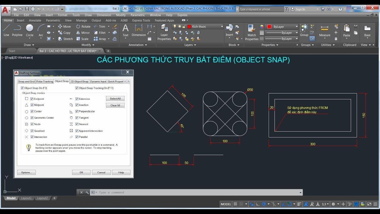 AutoCAD – Sử dụng các phương thức truy bắt điểm (Object snap) trong AutoCAD