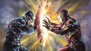 Captain America & Iron Man Speed Drawing : CIVIL WAR  :  캡틴아메리카 아이언맨 그리기