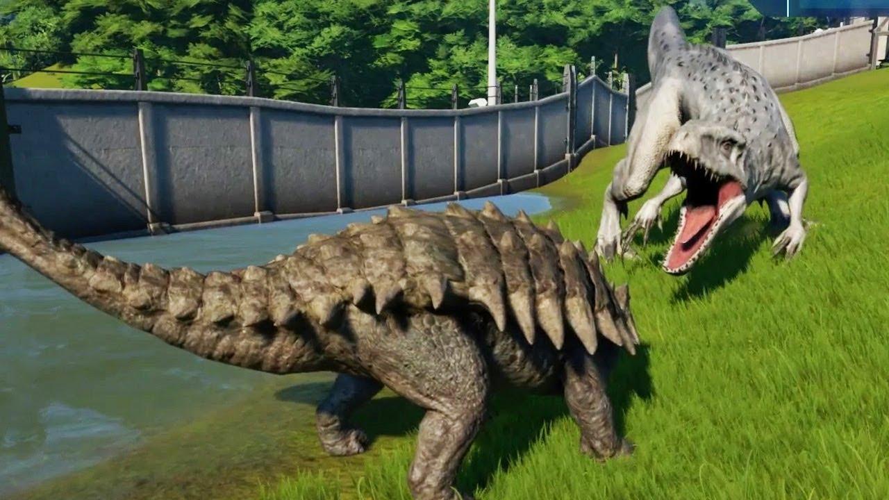 Ankylosaurus Max Vs Indominus Rex Jurassic World Evolution Youtube