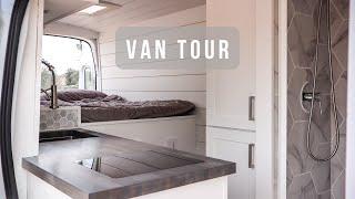 VAN TOUR | Luxury Modern Camper Van with full bathroom, skylight, & partition wall | Stealth Vanlife