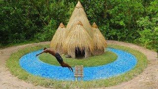 Build Swimming Pool Around Underground House-Build Hut in Stone Fish Pond