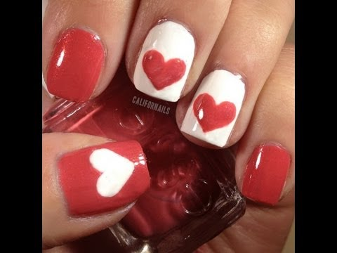 Valentine's Heart Nail Design - Valentine's Heart Nail Design - YouTube