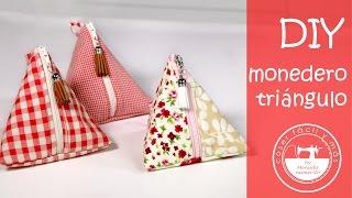 Monedero triangular: para aprovechar restos de tela