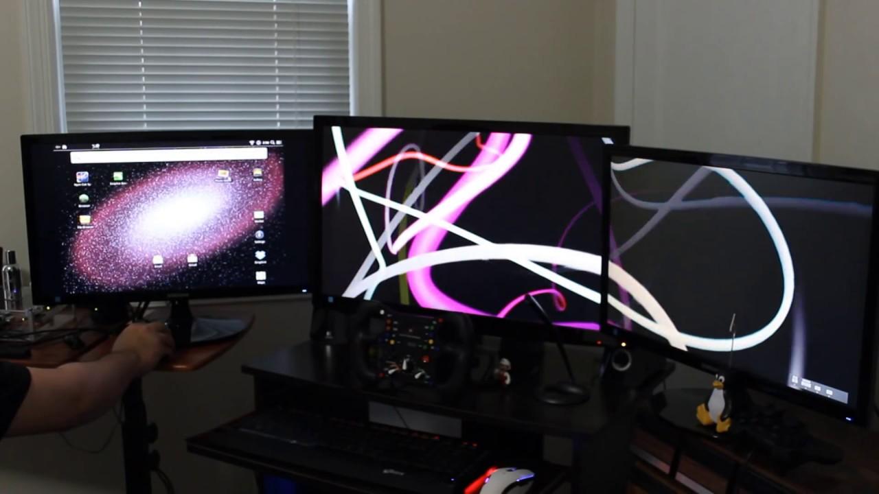 Three Computer Monitors
