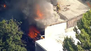 LIVE: Firefighters battle fire at Hollywood Hills home  I ABC7