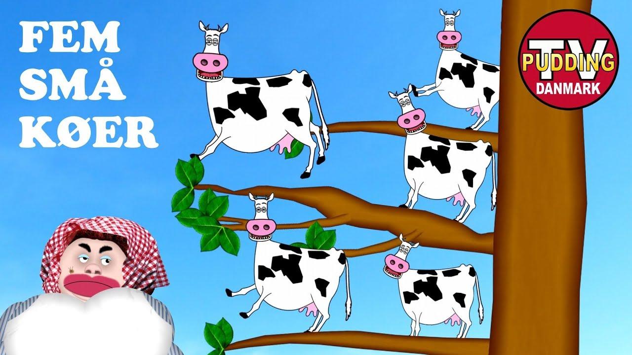 Fem små køer sad i et træ - Danske børnesange