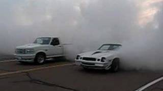 Ford Lightning and Chevy Camaro Burnouts