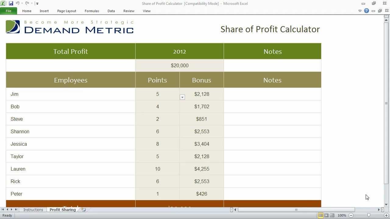 Profit Sharing Calculator Youtube