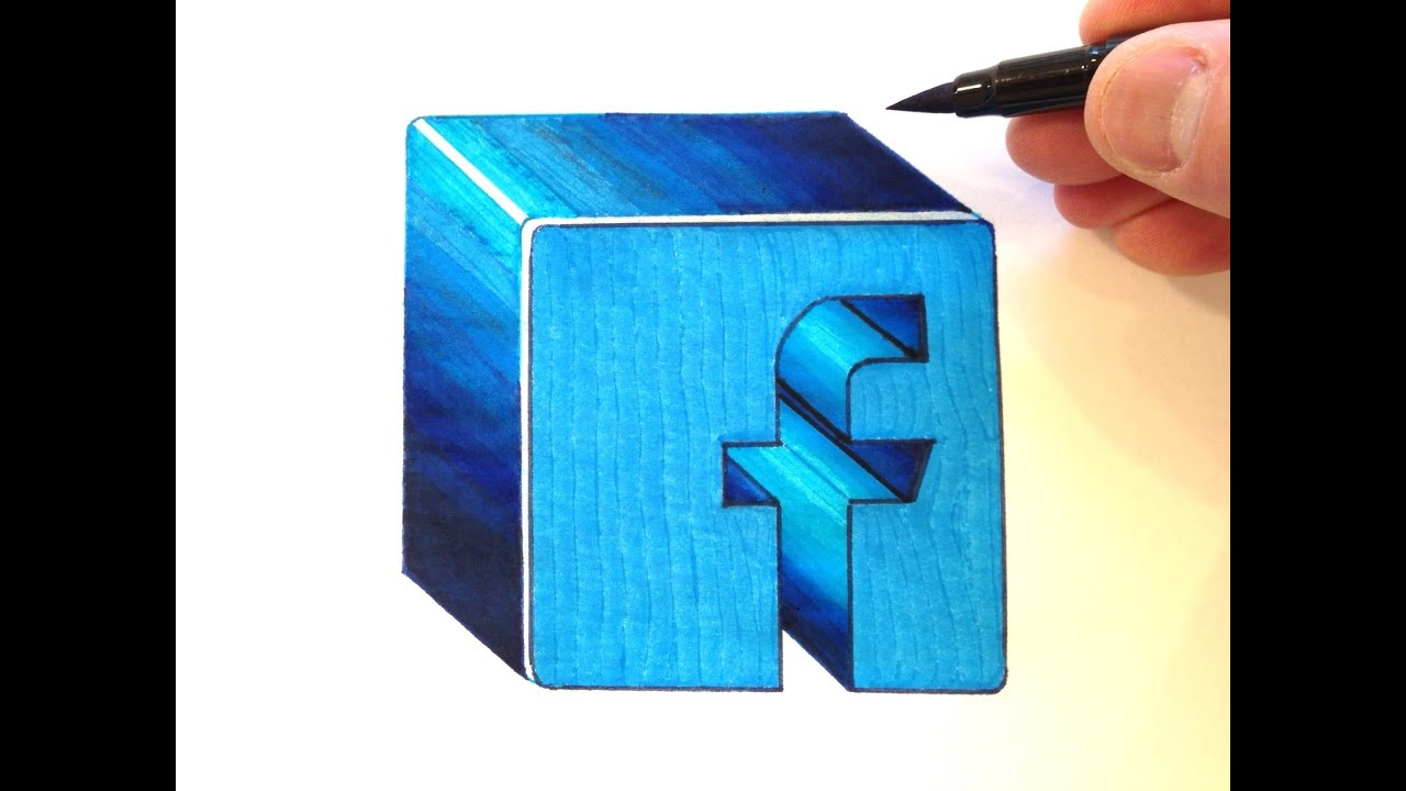 how to draw the facebook logo in 3d youtube