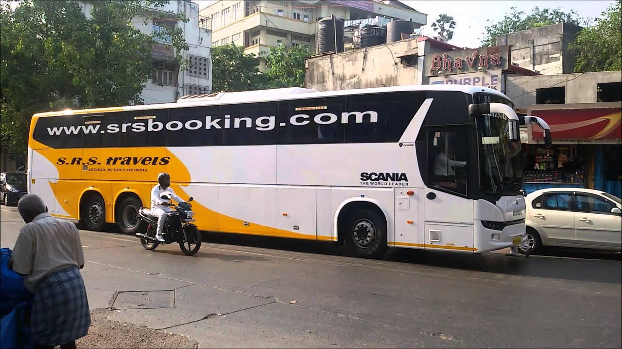 Gorgeous Multi Axle Scania & Volvo Buses (B9R & B11R) of Srs Travels captured in Mumbai, India ...