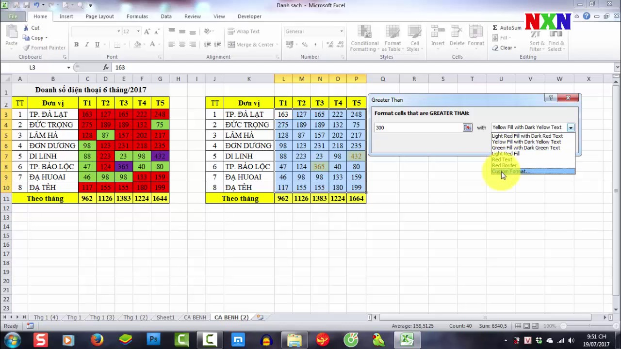Excel - Tô màu dữ liệu tự động theo điều kiện