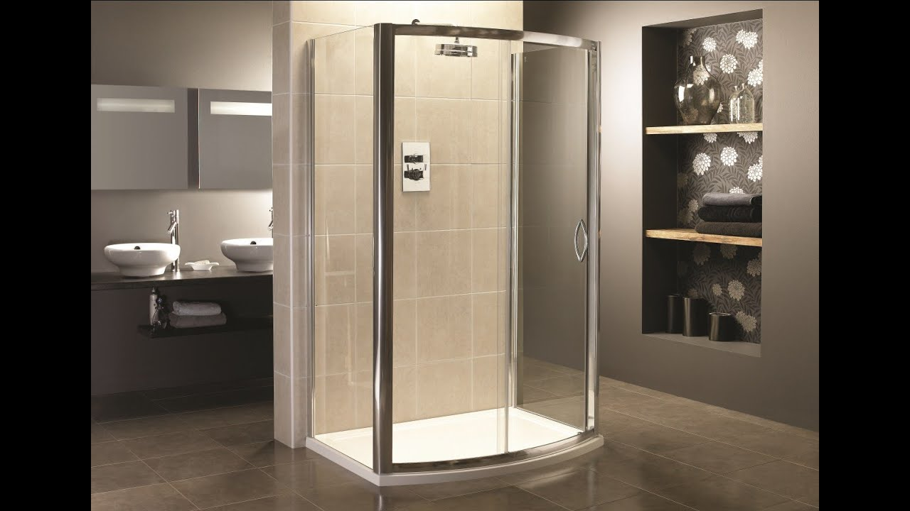 3 Sided Shower Enclosure with Sliding Door - YouTube